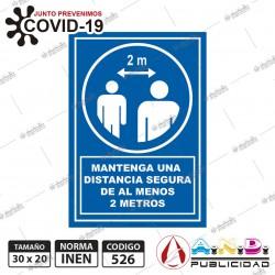 Señaletica A5 14,8x 21 Mantenga Distancia 2 Metros COVID