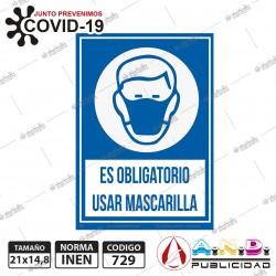 Señaletica A5obligatorio uso de mascarilla