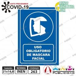 Señaletica A5 14,8X21 uso obligatorio de mascara facial