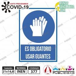 Señaletica A5 14,8x21 Uso Obliagtorio de Guantes