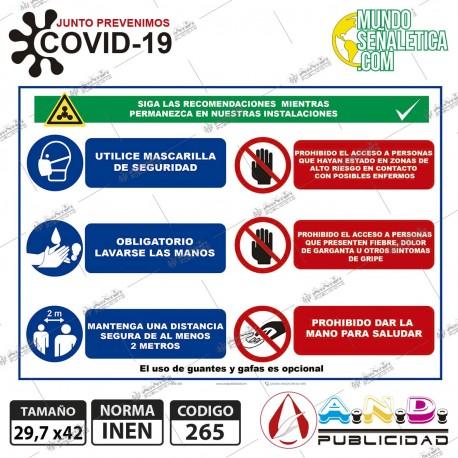Señaletica A3 29,7 x 42 Precauciones Covid Modelo 1