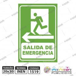 """Señaletica 30x20 """"Salida de Emergencia"""" Izquierda"""