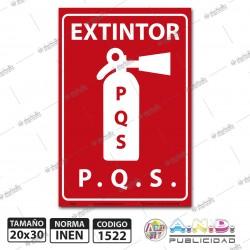 "Señaletica 30x20 ""Extintor PQS"""
