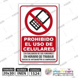 """Señaletica A4 """"Prohibido el Uso de Celulares"""""""