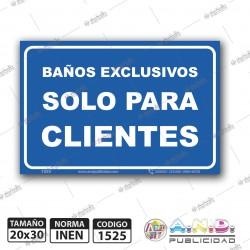 """Señaletica A4 """"Baños Exclusivos Solo Para Clientes"""""""