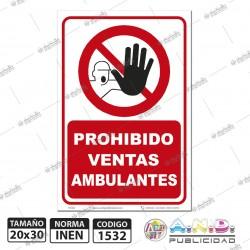 """Señaletica A4 """"Prohibido Ventas Ambulantes"""""""