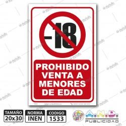 """Señaletica A4 """"Prohibido Venta a Menores de Edad"""""""