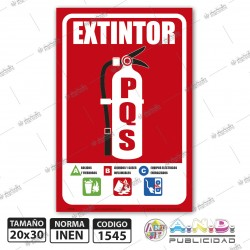 """Señaletica A4 """"Extintor PQS+Instrucciones"""""""