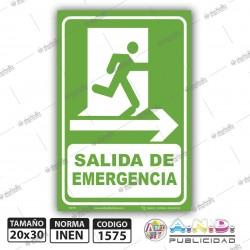 """Señaletica A4 """"Salida de Emergencia"""" Derecha"""