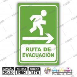 """Señaletica A4 """"Ruta de Evacuación"""" Derecha-Fotolomuniscente"""