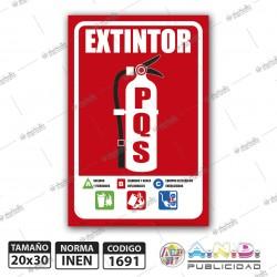 """Señaletica A4 """"Extintor PQS+Instrucciones"""" Fotoluminiscente"""