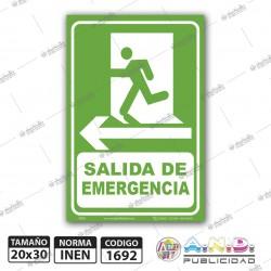 "Señaletica A4 ""Salida de Emergencia"" Izquierda-Fotoluminiscente"