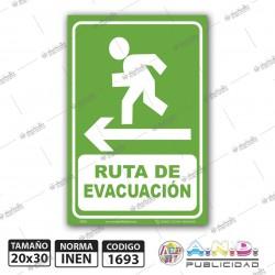"""Señaletica A4 """"Ruta de Evacuación"""" Izquierda-Fotoluminiscente"""