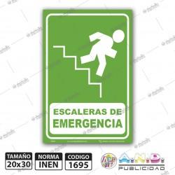 """Señaletica A4 """"Escaleras de Emergencia"""" Derecha-Fotoluminiscente"""