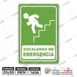 "Señaletica A4 ""Escaleras de Emergencia"" Izquierda-Fotoluminiscente"